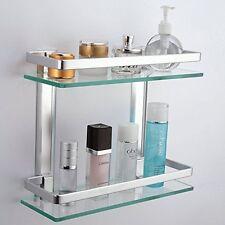 KES bagno 2-Tier Mensola in vetro con binario in alluminio e Extra Spesso temperato