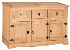 Large Corona 3-Door 3-Drawer Sideboard, Antique Waxed Pine, Cabinet Storage