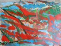 """André TELLIER  - """""""" arrière pays varois """"  GOUACHE & ACRYLvers 1960/70"""
