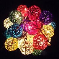 20 LED Boule Rotin Guirlande Lumineuse Jardin Fée Lampe Mariage Fête Noël Décor