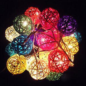 2.2m 20 LED Rattan Ball String Light Home Garden Fairy Lamp For Party Xmas Decor