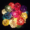 2.2m 20 LED Rattan Ball String Light Home Garden Fairy Lamp For Party Xmas Decor