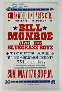 vintage signed BILL MONROE BLUEGRASS CHEEKWOOD NASHVILLE HATCH SHOW PRINT