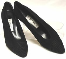 Vintage Spanish PROXY Size 8.5-9 Narrow Black Suede Leather Med Heel Dress Pumps