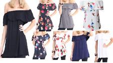 Ladies Plain Floral Off Shoulder Bardot Frill Ruffle Tshirt Top UK Size 8-26