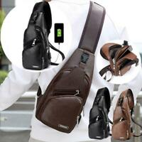 Mens Leather Single Shoulder Bag Crossbody Bag USB Sports Chest Casual Satchel