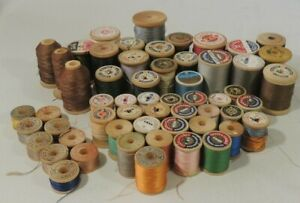 Lot Of 57 Vintage Sewing Thread Wood Spools Various Brands Sizes Colors