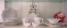 Geschirr Pearl Monogramm Keramik 19tlg. Weiß Shabby Nostalgie Vintage 2 Personen