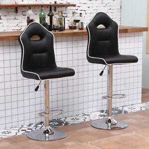 2x Moder Bar Stools Faux Leather Kitchen Breakfast Counter Gas Lift Swivel Black