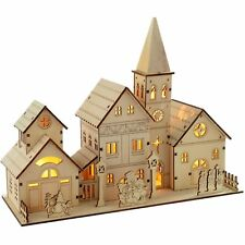 Pre-Lit Wooden Church Scene Illuminated Warm LED Light Xmas Christmas Decoration
