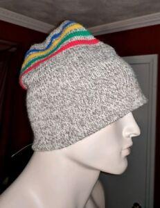 Vintage rag wool rainbow striped ski snowboard winter hat natural brown mens L