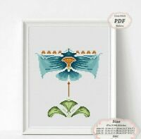 Art Nouveau Blue Orchid Floral borders - Embroidery Cross stitch PDF Pattern 113