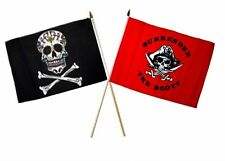 "12x18 12""x18"" Wholesale Combo Pirate Sugar Skull & Red Surrender Stick Flag"