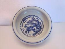 Small Asian thick white china bowl dish blue dragon decoration marked