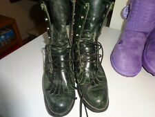 Capezio Dk Green Leather Vintage Lace Up Roper Granny Boots Size 6M made In USA
