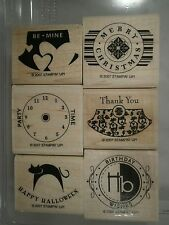 Stampin' Up! Party Punch Wood Mounted Rubber Stamp Set, Halloween, Christmas