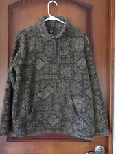 Gap Women's Polar Fleece Pullover Geo Print Browns Kangaroo Pockets SZ MED