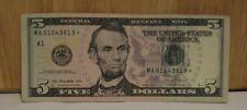 $5 FRN Star Note MA 01643819 * Series 2013