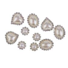 10pc Flat Back Rhinestone Crystal Embellishment DIY Wedding Card Hair Flower