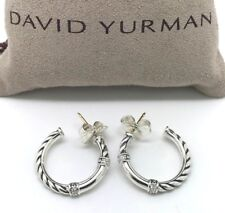 DAVID YURMAN 22mm Metro Cable Hoop Earrings with Diamonds in Sterling Silver
