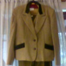 ACQUERELLI 3 pezzi Da Donna Marrone Lana Suit-Gonna UK 16, gilet/giacca UK 14