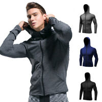 Men's Sport Hoodie with Pockets Zip Up Hooded Dri fit Moisture Wicking Gym Tops