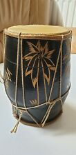 Wooden double side skin drum African- 20cm tall, 11cm skin diameter