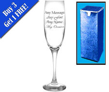 Pack Of 25 Personalised Engraved Champagne Flutes. Wedding, Birthday, Bridesmaid