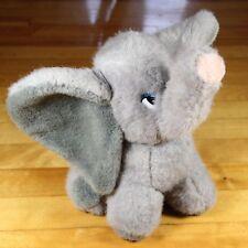 "Elephant Plush Toy Stuffed Animal Dumbo Gray Blue Eyes Pink Nose 9"" DS Nicholass"