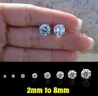 GENUINE SOLID 925 STERLING SILVER- 2-8mm AAA CZ Cubic Zirconia Stud Earrings