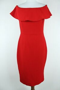 Zara Basic NEW Red Sleeveless Zipped Back Off Shoulder Women Sheath Dress Size L