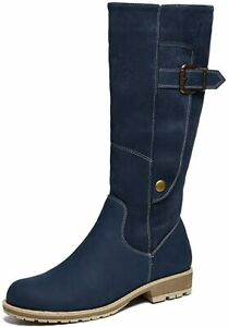 Gracosy Knee High Boots for Women, Long Boot Handmade Suede Leather Navy Blue