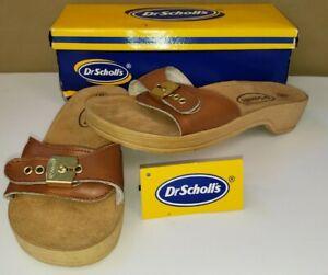Vintage Vtg 1996 Brown  Dr. Scholl's Wood Exercise Slides Sandals Size 8 & Box