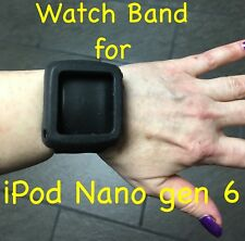 Watch Band Cover Case for iPod Nano 6th Gen 8G 16GB Silicone Black Expandable