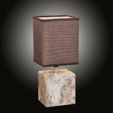 Log marbre lampe de table 31cm avec abat-jour en tissu marron rond chevet