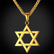 Star of David Pendant & Necklace Chain christian Israel Jewish Gold Plated