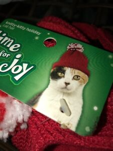 Kitty Knitted Hat Red One Size Winter Time Holidays Warm Cat New