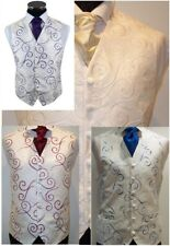 "MEN'S TODDLERS SILK FINISH SWIRL SCROLL WAISTCOAT IVORY 4 COLOUR CHOICE 20""-60"""