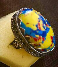 Artsy Rainbow Calsilica  Cabochon Handmade Ring Size 7.5