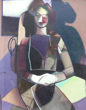 Ivan Kustura (American 1951-) Oil on Burlap Painting Abstract Woman Signed