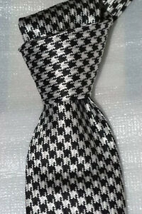 """$250 NWT TOM FORD Black w/ white houndstooth check 3.25"""" woven silk tie ITALY"""