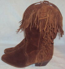 LEATHER CRAFT, LADIES BROWN LEATHER SUEDE WESTERN BOOT, SIZE  7 M