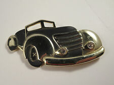 Old Fashioned Black Enamel Convertible Car Brooch Rhinestone Headlights Gold Tn