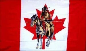 NATIVE INDIAN ON HORSE 3FT X 5FT PREMIUM POLYESTER FLAG WITH GROMMETS