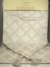 "Lenox American By Design Laurel Leaf Silver Table Runner Linen 14"" x 90"" NWT"