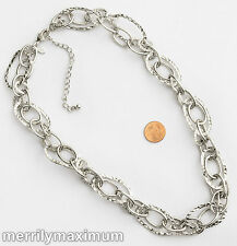 Chico's Signed Necklace Shiny Silver Tone Smooth Hammered Oval Link Multi Chains