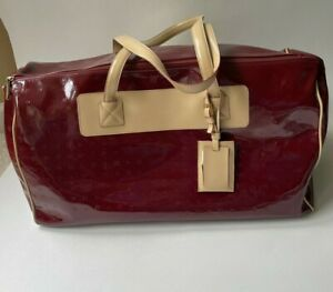 Arcadia Weekender Duffel Bag Travel Overnight XL Tote Patent Leather Red $478