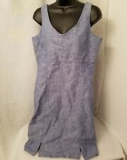 Villager Sport Womens Linen Blue Jean LOOK Sundress Dress Size 10