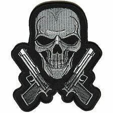 Embroidered Guns & Skull Chrome Sew or Iron on Patch Biker Patch