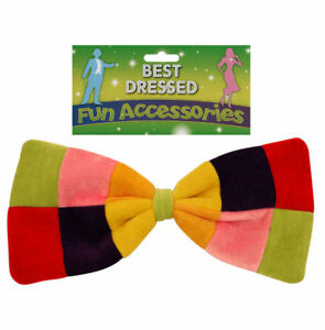 Giant Rainbow Bow Tie - Fancy Dress Costume Clown Outfit Party Accessory Pride